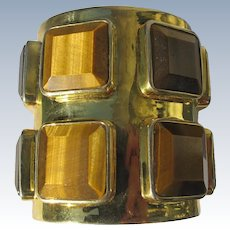 Cuff Bracelet Tiger Eye Stones Artist Made One of a Kind Brass 1960's