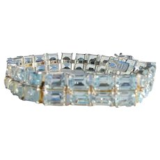 Sterling Silver and Blue Stone Tennis Bracelet Unworn