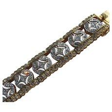 Rhinestone Tennis Bracelet Gold Metal Never Worn