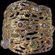 Cuff Bracelet Various Stones in Filigree Design 925 Gold Overlay
