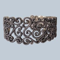 Bracelet Sterling Silver Filigree Cuff with Clear Stones
