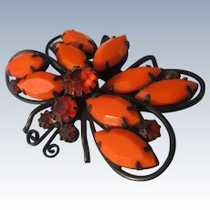 1950's Butterfly Orange Glass Stones