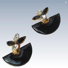 Black Enamel Earrings on Gold Metal with Large Rhinestones 1980