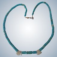 Turquoise Necklace Native American Indian with Quartz Hand Rolled