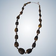 Tiger Eye Stone Necklace Carved Large Sterling Clasp