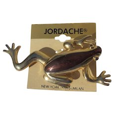 1980's Jordache Pin Frog Large Gold Brown Color