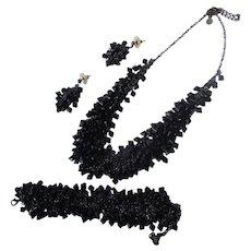 Necklace Earrings Bracelet Black Beaded Set Vintage Perfect