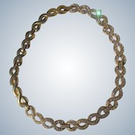 Vintage Necklace 1980's Gold Metal and Rhinestones