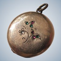 Art Nouveau Locket Gold Metal Charm Paste Jewels
