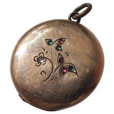 Art Nouveau Locket Gold Metal Charm Paste Jewels