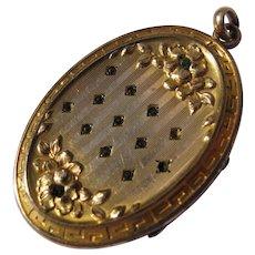 Gold Filled Locket Charm Green Stones Initials GB Art Nouveau Era