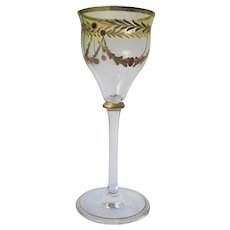 Brandy Glass Green Red Gold Design Old