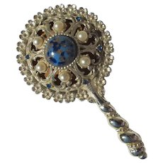 Small Hand Mirror Jeweled 1950's
