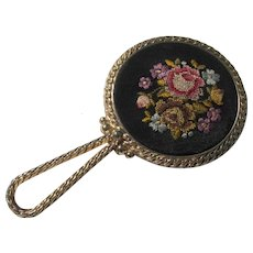 Small Mirror Petite Point Embroidered Flowers