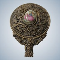 Small Hand Mirror Porcelain  with Hand Painted Limoges Like