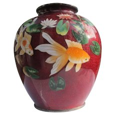 Enamel Vase Oriental Cloisonne Decorative Koi Fish Pidgeon Blood Red 1900