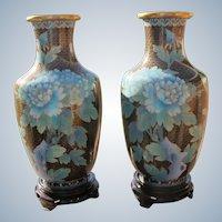 Cloisonne Vases Blue Flowers Large Matching Set Boxed Unused 1970 - 1980's