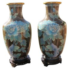 Cloisonne Vases Blue Flowers Large Matching Set Boxed Unused 1970 - 1980's