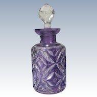 Perfume Bottle Purple Deep Cut Glass Long Dauber