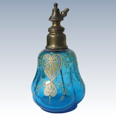 Turquoise Glass Perfume Bottle Moser like Painting