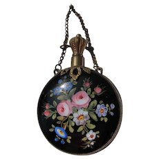 French Enamel Perfume Bottle with Roses for Chatelaine