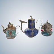 Asian Teapots Urn Porcelain Buddha Monkey Squirrel Dragons