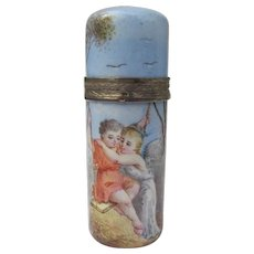French Scent Bottle Enamel Hand Painted Piece of Art