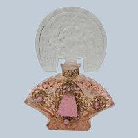 Czechoslovakian Jeweled Perfume Bottle Pink Tiara Top Perfect 1920's-30's