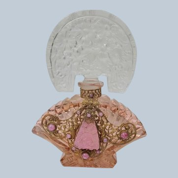 Czechoslovakian Jeweled Perfume Bottle Pink Tiara Top Perfect 1920's-30's