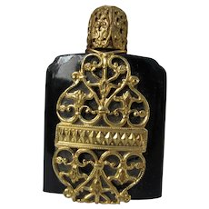 Black Perfume Bottle with Gold Filigree Austrian Glass Dauber