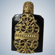 Black Perfume Bottle with Gold Filigree Austrian Glass Dauber