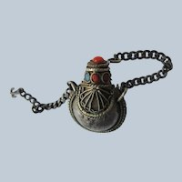 Small Jeweled Tibetan Scent Bottle Chatelaine