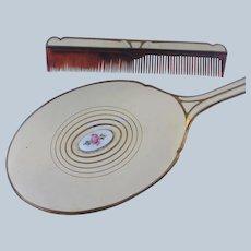 Hand Mirror 3 Piece Set Brush Comb Set Guilloche Enamel Roses Vintage Vanity Set