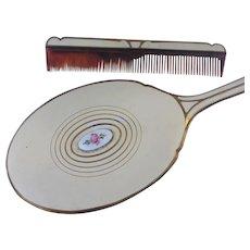 Hand Mirror Brush Comb Set Guilloche Enamel Roses Vintage Vanity Set
