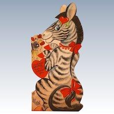 Valentine's Day Card With Zebra Dog Bird 1920's