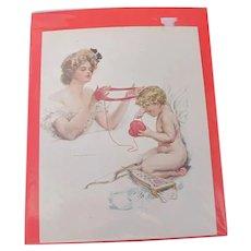 Lithograph Harrison Fisher Valentines Day Cherub & Victorian Woman