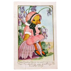 Easter Postcard Dressed Chick Animal Fantasy