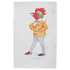 Dressed Animal Easter Card Rooster Crowing Again