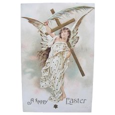 Easter Angel Postcard 1909 Palm Leaf