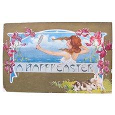 Artist Signed Postcard Easter Art Nouveau Italian Rare
