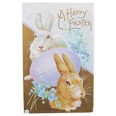 Easter Postcard Bunnies Violets and an Easter Egg 1913