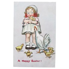 Easter Postcard Girl and Chicks Tucks and Sons