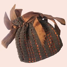 Vintage Purse Hand Crocheted Hand Stitched 1913-1920