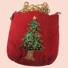 Beaded Evening Purse for Christmas with Christmas Tree Sequins