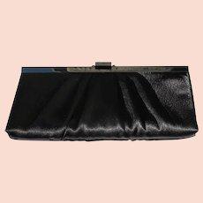 Black Evening Bag Purse Satin Fabric Chain Shoulder Strap Gunne Sax