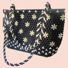 1940's Beaded Purse with Black and White Faux Pearls Flower Design.