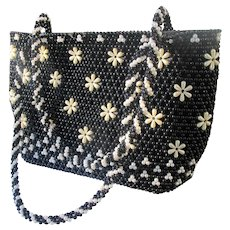 1950's Beaded Purse with Black and White Faux Pearls Flower Design.