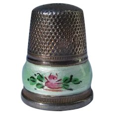 Sterling Silver Thimble Guillouche Enamel Hallmarked Ex Condition
