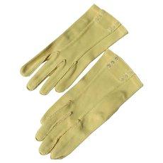 Yellow Gloves by Cresendoe Small MOP Button Unworn 6 1/2