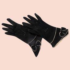Vintage Gloves Black Beige with Bows Perfect Unworn 6 1/2